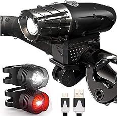 Ankkiro LED Fahrradlicht Mit USB Wiederaufladbare, Wasserdichte LED Fahrradlampe Set Frontlichter 4 Licht-Modi Fahrrad Licht für Radfahren,Wandern schwarz