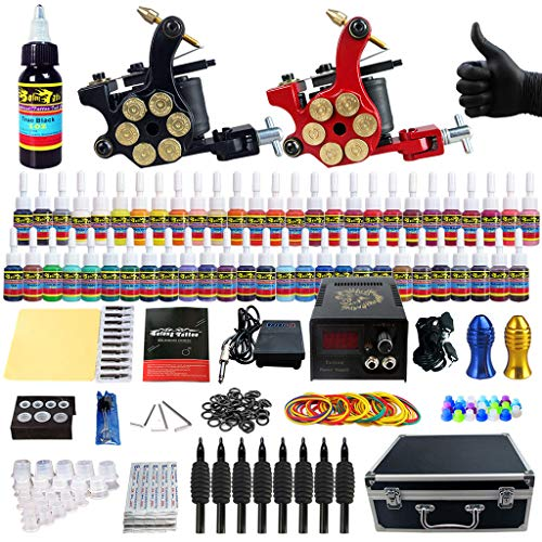 Tattoo Maschine Doppelmaschine Set Power Coil Maschine Teile Kombination Toolbox Box Tattoo Ausrüstung Tattoo Maschine