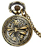 #7: LMP3Creation Fashion Classical Bronze Vintage Retro Antique Look Skeleton Hollowed Dragonfly Pocket Watch - Unisex Chain Necklace Watch (POW-0199)