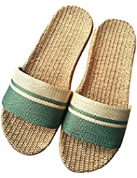 Minetom Unisex Donne Uomo Pantofole di Lino Naturale con Fasce Incrociate  Ciabatte Antiscivolo Punta Aperta Infradito 6d0a8a7e90f