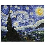 Fokenzary - Pittura a olio su tela, riproduzione del classico cielo stellato di Vincent Van Gogh, già incorniciata, pronta da appendere al muro, Tela, 50x60cm