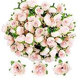 JNCH 100pz Teste di Rose Fiori Artificiali Seta Finte Piccole per Decorazioni Matrimonio Festa (Champagne)