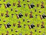 Baumwolljersey Kung-Fu Panda grün, Meterware ab 0,5 m /