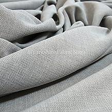 Tela de chenilla con apariencia de lino, ideal para tapizar y para hacer cortinas y cojines, color gris claro