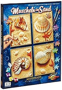 Schipper 609340654 - Malen nach Zahlen, Muscheln im Sand, Quattro, 18 x 24 cm