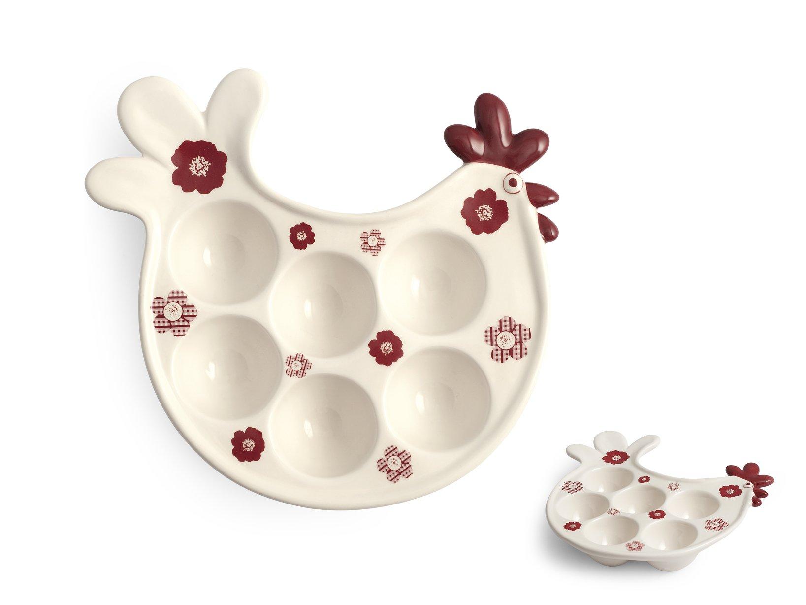 HOME Porta Uova Ceramica 6Ps Decorazione Country Contenitori Cucina ...