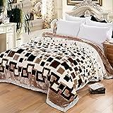 Xuan - worth having Griglia ispessita in bianco e nero Raschel Coperte Rivestimenti per letto matrimoniale con pisolino invernale ( dimensioni : 195*230cm )