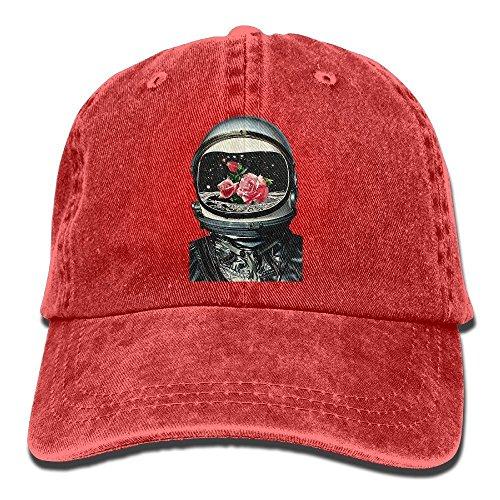 Astronaut Denim Baseball Kappen Hat verstellbar Baumwolle Sport Cap für Männer Frauen Einheitsgröße rot (Astronaut Kostüm Bilder)