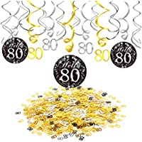 Konsait 80 Cumpleaños Negro Colgar Remolino Decoración de Techo (15 Cuentas), Feliz Cumpleaños & 80 Mesa Confeti (1.05 oz) para Decoraciones de Fiesta DE 50 Cumpleaños Mujer Hombre