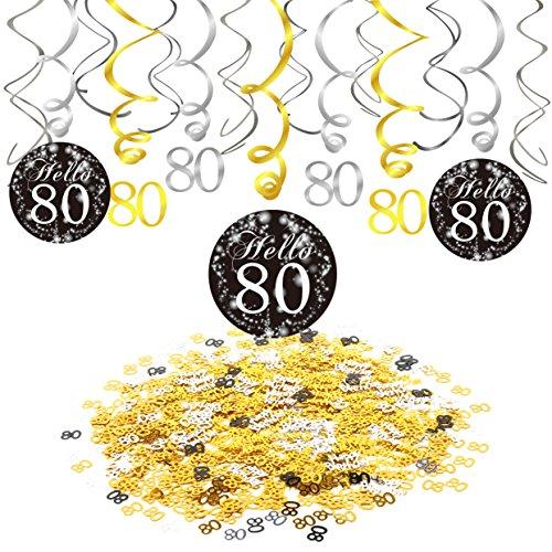 Konsait 80. Geburtstags Dekorationen für Männer und Frauen, 80. Geburtstags Hängedeko Girlande Spirale Schwarz und Gold (15er Se), Alles Gute Zum Geburtstag und 80 Tisch Confetti (1,05 Unzen)