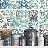 Fliesenaufkleber Pastell Blau Wanddeko für Küche Ideen (Packung mit 36) (10 x 10 cm)