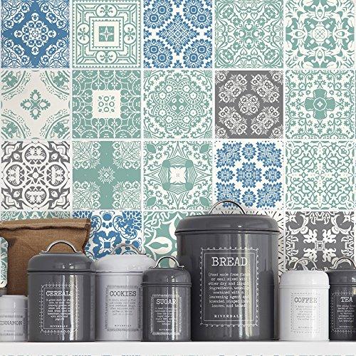 Küche Backsplash (Fliesenaufkleber Pastell Blau Wanddeko für Küche Ideen (Packung mit 36) (15 x 15 cm))