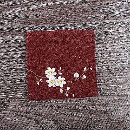 QWERWHH 10cm Accessoires thermique coton art de la table plateau Tasse Mat (2 pièces), rouge foncé