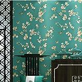 AIKE Tapete Retro Nostalgie Landhausstil Blumenmuster 3D Wallpaper Roll für Wohnzimmer/Schlafzimmer/TV Wand/Kleidung Shop/Restaurant, A