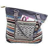 Gall&Zick Canvas Tragetasche Tasche Schultertasche Shopper Damentasche Strandtasche Shopper Ikat...