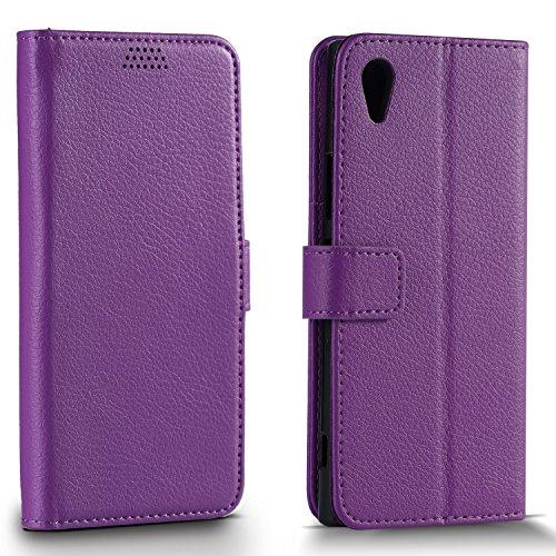Funda Sony Xperia XA1 Ultra, L2W cuero lichi patrón Flip monedero funda en estilo de libro con ranuras de tarjeta/compartimento de efectivo/stand funda/Hard PC híbrido interior Shell para Sony Xperia XA1 ultra (6 pulgadas)-púrpura