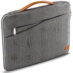 """deleyCON Laptop Case pour Ordinateur Portable MacBook Jusqu'à 17,3"""" (43,94cm) Sac de Protection en Nylon Robuste 2 Compartiments Accessoires Murs de Rembourrage Renforcés - Gris"""
