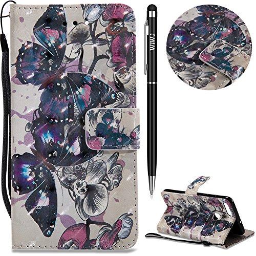 Huawei P Smart Hülle,Huawei Enjoy 7S Leather Handyhülle,WIWJ Wallet Case[3D-Lackleder-Etui]Schutzhüllen für Huawei P Smart/Huawei Enjoy 7S-Schwarzer Schmetterling