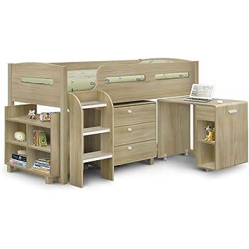 Happy Beds Kids Mid Sleeper Bed Kimbo Oak Wood Contemporary Desk Drawers Shelf Storage Bed  sc 1 st  Amazon UK & Happy Beds Kids Mid Sleeper Bed Kimbo Oak Wood Contemporary Desk ...