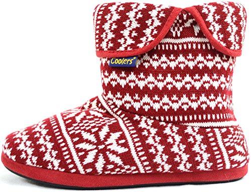 En Tricot pour homme style chaud Bottes en polaire doublée Chaussons/Chaussons Rouge - rouge