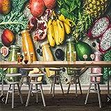 Sucsaistat Tapete Wandbild Wandaufkleber Saft Avocado Banane Lebensmittel Fototapete, Restaurant Bar Wohnzimmer Bar TV Sofa Wand Küche 3D Wandgemälde, 300 * 210Cm