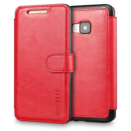 Mulbess Handyhülle für HTC One M9 Hülle Leder, Layered Dandy Leder Flip Tasche für HTC M9 SchutzTasche Cover Etui, Wein Rot