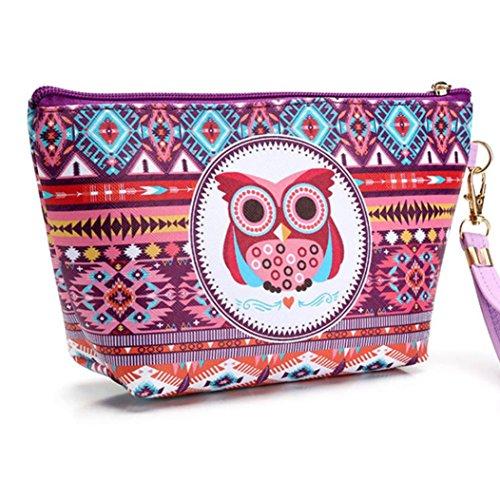 Hunpta Tragbare Eule Kosmetik Tasche Tasche Reißverschluss Toilettenartikel Organizer Reise Make-up Clutch Bag D