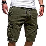 FRAUIT Pantaloni Corti Bermuda Cargo Pantaloncini Uomo Shorts Estivi Uomini Pantaloncino Lavoro Tasconi con Elastico Pantalon