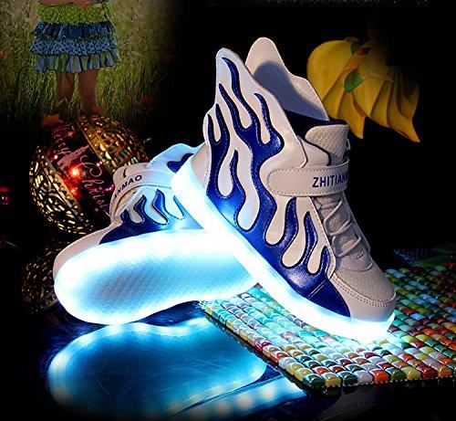 [Baskets enfant]KIPTOP®Basket led chaussures de sport lumineuse clignotante 7 couleurs rechargeable USB Sneakers cool pour enfant bleu