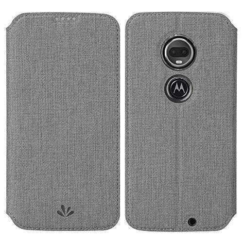 Eastcoo Kompatibel mit Motorola Moto G7 Power Hülle PU Leder Flip Case Tasche Cover Schutzhülle mit [Standfunktion][Magnetic Closure][Wallet]für Moto G7 Power Smartphone (Moto G7 Power, Grau)
