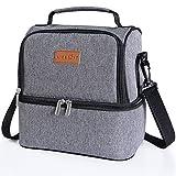 Lifewit Sac Isotherme de 7L avec 2 Compartiments Lunch Bag pour Travail Ecole Pique-nique Hommes Femmes,Gris