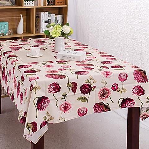 leinen tischdecke Retro blume Festliche lieferungen Hotel Kaffee tischdecke , A , 140*180cm (Blumen Plastiktischdecke)