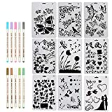 ccmart Zeichnen Malen Schablone Set von 9 mit Schmetterling, Blumen, Vögel, Zahlen, Animal Form und metallic Marker Pen Set Perfekte für Notebook/Diary/Scrapbook/Journaling/Karte DIY Craft Projekte