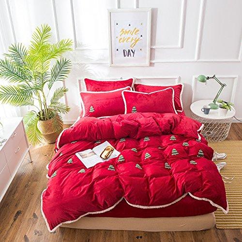 Cunguang Árbol de navidad rojo cálido invierno de terciopelo bordado de cristal de cuatro conjuntos de ropa de cama de 1,8 m coral colcha de terciopelo hojas,cama de 1,5 m / edredón cubrir 200*230 cm/ Juego de 4 piezas