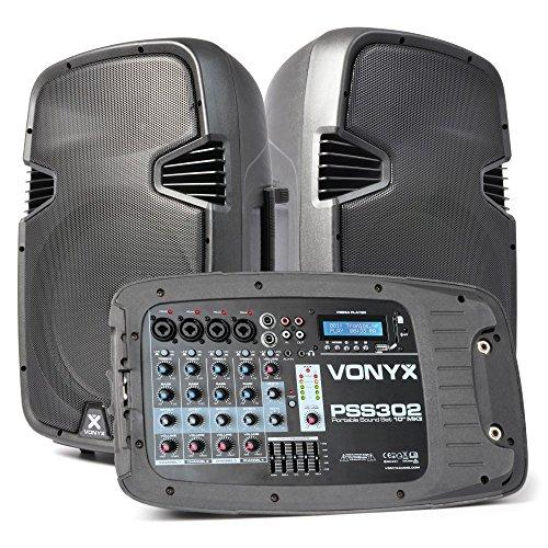 Vexus PSS302 Equipo de sonido móvil PA Bluetooth (Altavoces 300W potencia máx, entrada USB, SD, RCA, Jack, XLR, 2x altavoz dj portátil, 2x trípode, 1x micrófono, bolsa transporte)