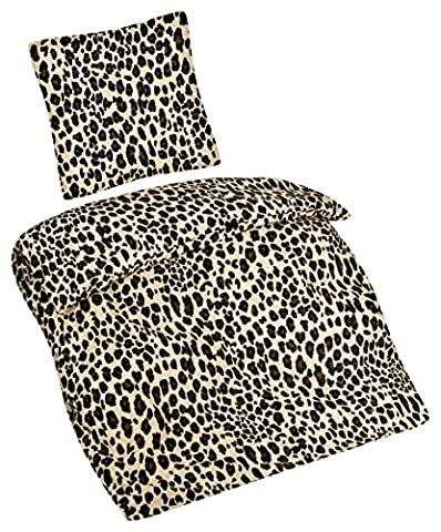 Aminata – Bettwäsche Leoparden 135x200 cm Baumwolle Reißverschluss Muster Braun