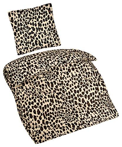 Aminata – Bettwäsche Leoparden 135x200 cm Baumwolle Reißverschluss Muster Braun Beige Bettbezug Leo Animalprint Tierfellmuster Afrika Safari Punkte 2-teiliges Bettwäscheset Bezug Ganzjahr Normalgröße (Leopard Männliche)