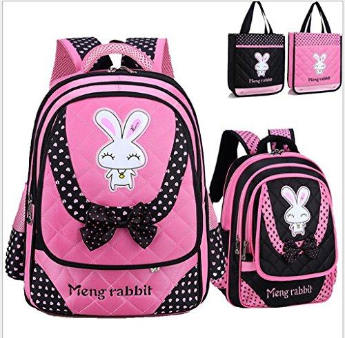 Smile YKK Cartoon Kinder Mädchen Schultasche Rucksack Backpack Kinderrucksack L Pink+Tasche Schwarz # L+Tasche