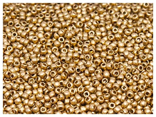 10gr 11/0 Tschechische Runde Rocailles mit einem einzigartigen Finish Ätzen, Etched Crystal Bronze Pale Gold (Aztec Gold with Etching) (Seed Bead Projekte)