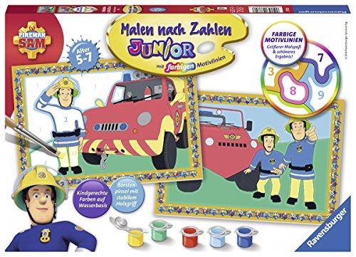 Ravensburger 27772 - Feuermann Feuerwehrmann Sam - Malen nach Zahlen Junior