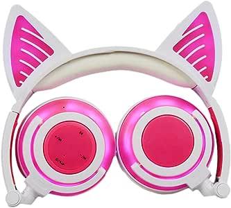LIMSON Bluetooth Enfants Casque, Cat Rechargeable Pliable LED Clignotant Écouteurs Clignotants Pour Téléphones Mobiles, iPad, Ordinateur Portable