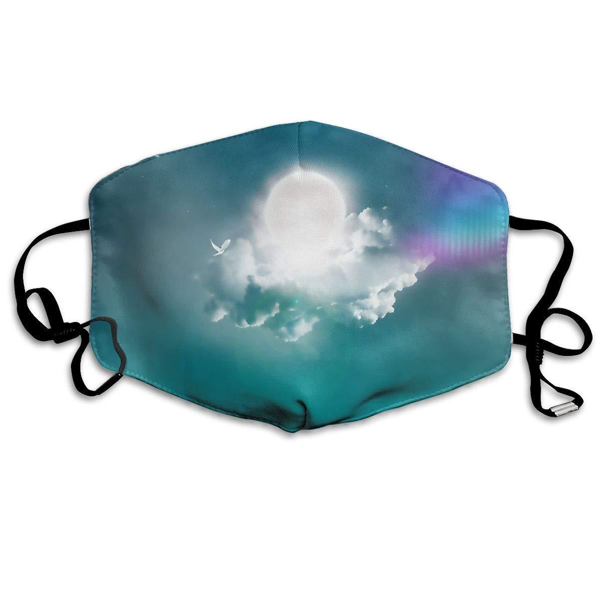 Daawqee Máscara de Boca, Antipolvo Cubierta de Boca Cloud Pattern Reusable Washable Earloop Máscara de Boca for Men Women