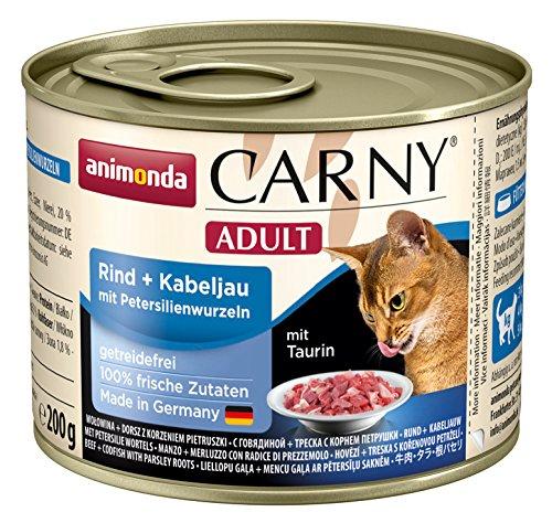 Animonda Carny Adult Katzenfutter, Nassfutter für Katzen, Rind + Kabeljau mit Petersilienwurzeln, 6er Pack (6 x 200 g)