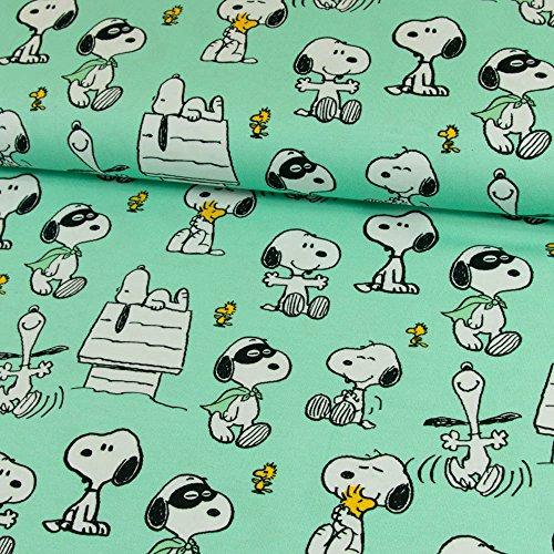 Stoffe Werning Baumwolljersey Lizenzstoff Peanuts Snoopy Maske Mint Kinderstoffe - Preis Gilt für 0,5 Meter - (Peanut Snoopy Schlafanzug)