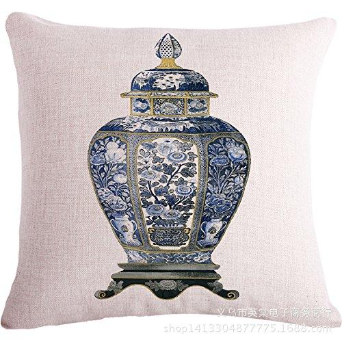 JinRou Moda casual cotone bianco e blu pavone fiore decorativo rettangolare di soggiorno camera da letto cuscino 18*18 pollici , 3