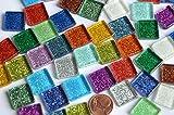 50 St. Glas-Mosaiksteine Buntmix mit Glitzer 15x15mm ca. 95g