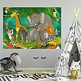 livingdecoration Fototapete Kinderzimmer 183 x 127 cm Tiere Safari Dschungel Kinder Kids Junge Mädchen Elefant Tapete inklusiv Kleister