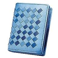 Peau d'agneau esdrem Premium Business Carte Nom Support slim Compact pour carte de crédit avec fenêtre d'identification avec fermeture éclair poche pour monnaie bleu clair