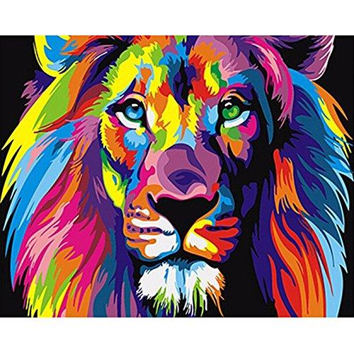 Mmrm Hause kreativ Wanddekoration Malerei leinwand malen nach zahlen kit gemälde diy regenbogen löwe ohne rahmen