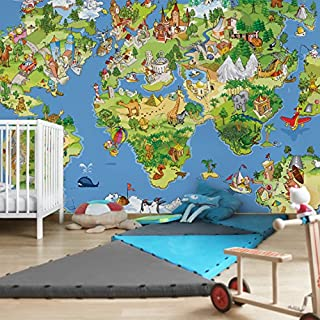 Apalis Kindertapeten Vliestapeten Great And Funny Worldmap Fototapete Breit | Vlies Tapete Wandtapete Wandbild Foto 3D Fototapete für Schlafzimmer Wohnzimmer Küche | mehrfarbig, 94664